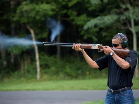 WH Releases Picture of Obama 'Skeet Shooting'