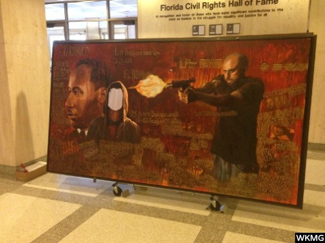 FL Capitol Mural: Man Who Looks Like Zimmerman Shoots Trayvon Martin Likeness