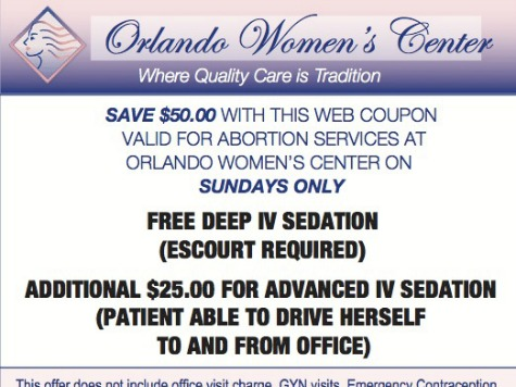 Orlando Clinic Offers $100-Off Coupon for Sunday Abortions
