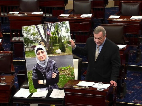 'Dreamer' Promoted By Durbin Laughs About Using US Flag As Prop For 'Messaging'