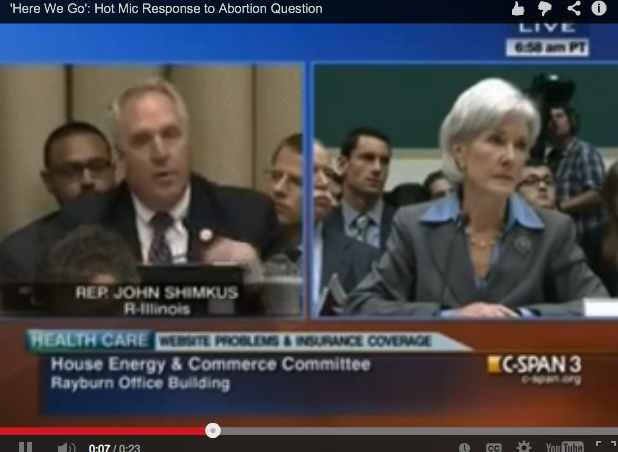 Dem Caught on Open Mic During Sebelius Abortion Question: 'Oh, Here We Go'