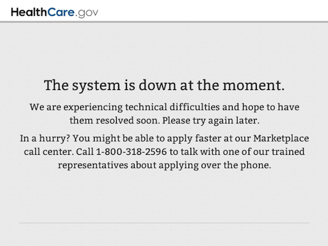 ObamaCare Site Crashes Minutes Before Sebelius Testimony