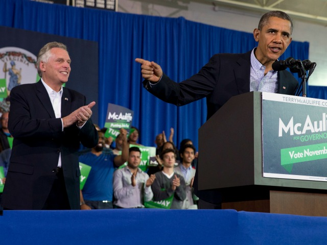 Tea Party Appears at Obama Stump Speech for McAuliffe