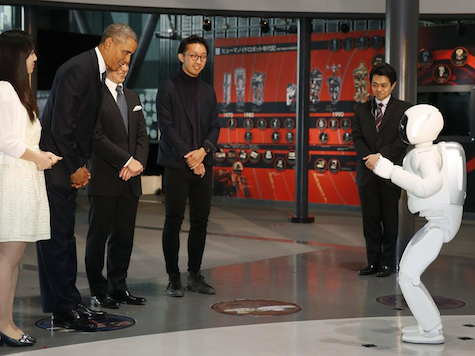 United States President Barack Obama Bows to Japanese Robot