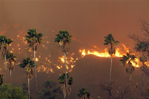 Structures Burning in Southern California Wildfire