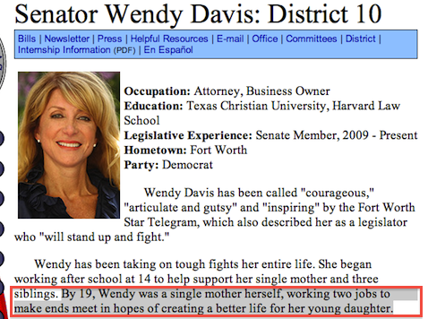 OVER ONE MONTH: Wendy Davis Official Bio Still Contains Lie