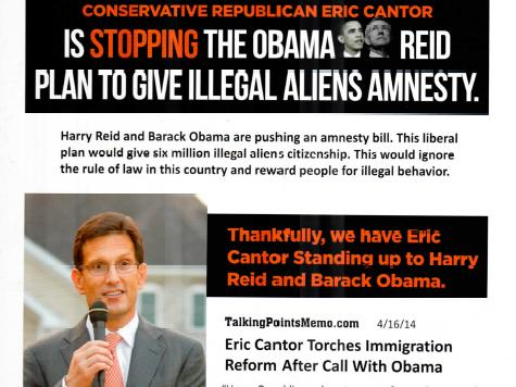 Days from Primary, Eric Cantor Poses as Anti-Amnesty Warrior