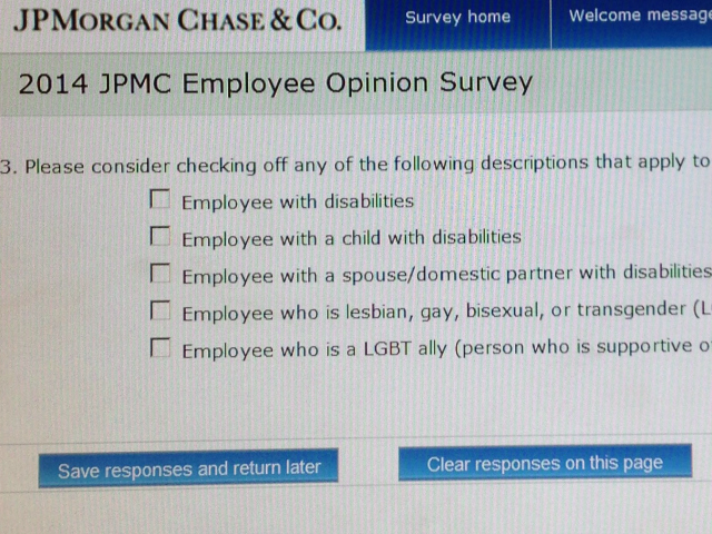 Exclusive: Chase Employee Leaks Purported Photo of LGBT Survey Question