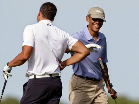 Obama at Golf Course Six Minutes After Press Conference