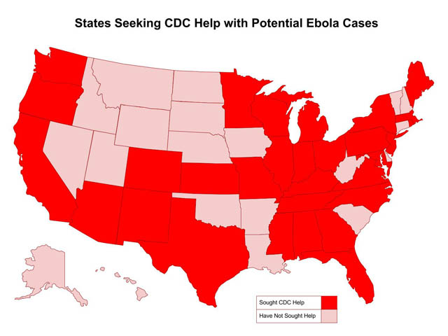 CDC: 30 States Plus D.C. Have Requested Help with Possible Ebola Cases