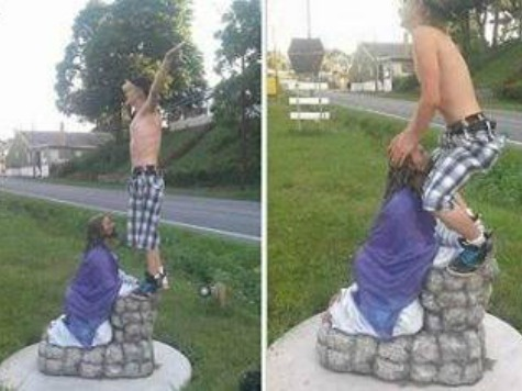 Pictures of Simulated Sex Act with Jesus Statue Result in Desecration Charge