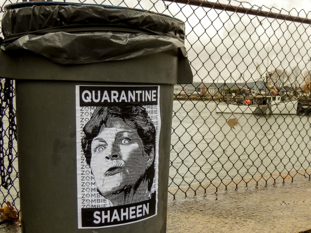 Street Art Appears in NH Calling to 'Quarantine Shaheen' as Hillary Clinton Campaigns for Struggling Democrat