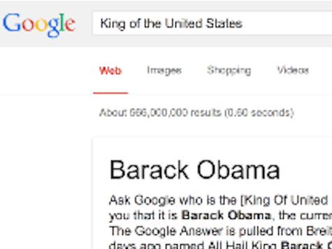 Google: Barack Obama 'King of the United States'