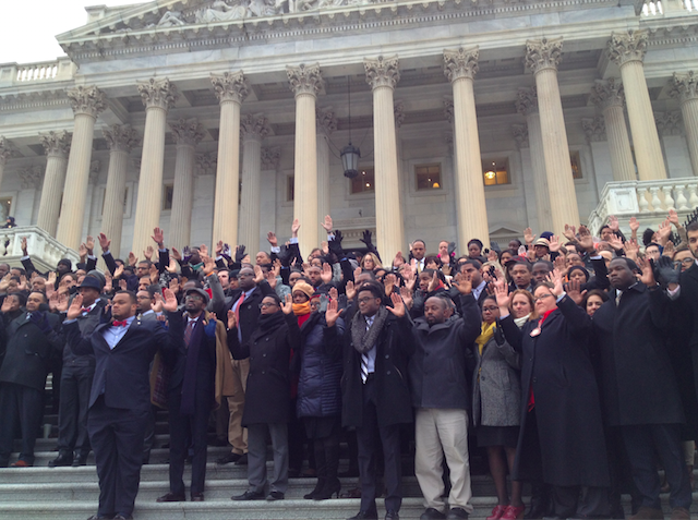 Congressional Staffers Protest on Steps of Capitol