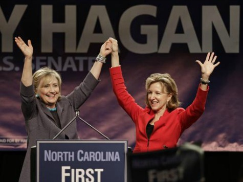Hillary Practices for 2016 at Rally for Kay Hagan