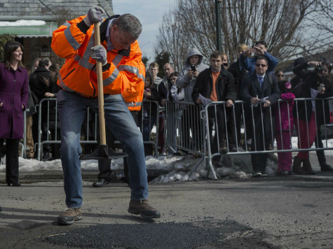 Bill De Blasio Boasts in Interview: 'Filling Potholes… Should Get Front-Page Headlines'