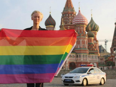 Tilda Swinton Waves Gay Pride Flag in Russia