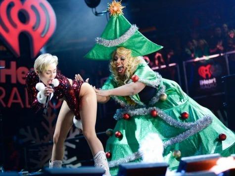 Miley Cyrus Twerks Tree, Santa During Jingle Ball Concert
