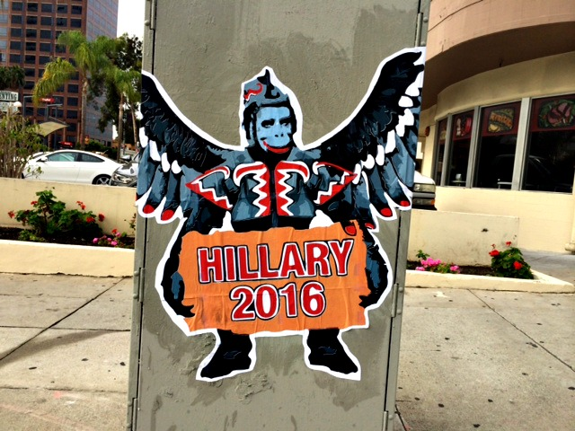 Anti-Clinton Monkey Posters Flying High in LA Before Fundraiser