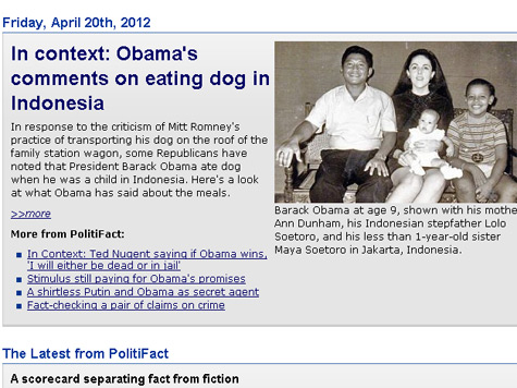 PolitiFact Adds 'Context' to Simple 'Obama Ate Dog' Fact; No Rating