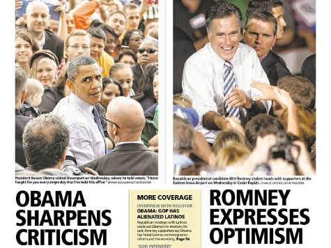 Des Moines Register: Romney Optimistic, Obama Criticizes
