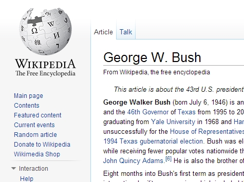 Wikipedia's Top Hits: In America, George W. Bush's Entry Most Controversial