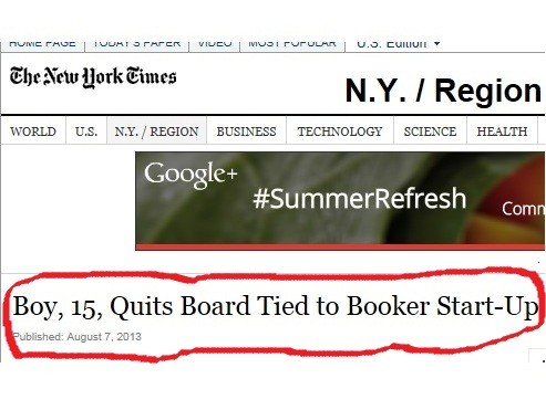New York Times Headline About Booker Startup Omits Zucker's Name