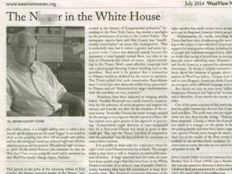 New York Newspaper: 'The Ni**er In the White House'