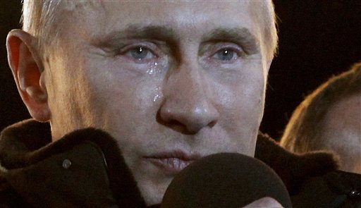 A tearful Putin claims Russian election victory