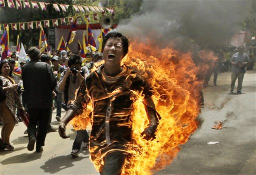 Tibetan lights self on fire at anti-China protest
