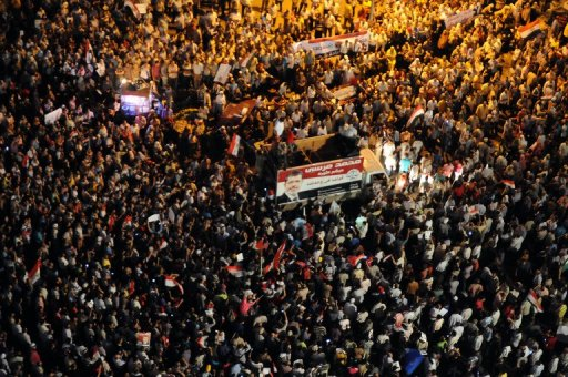 Thousands Rallied in Tahrir Square on Tuesday in Support of the President