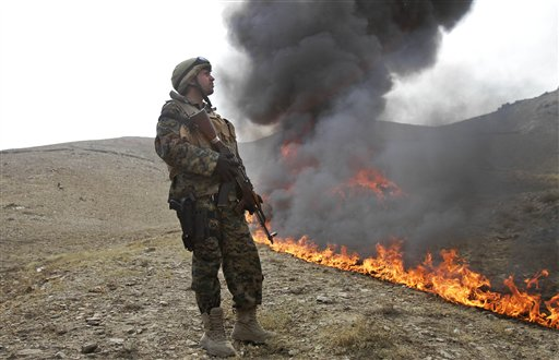 Afghan Government Burns 24 Tons of Illegal Drugs