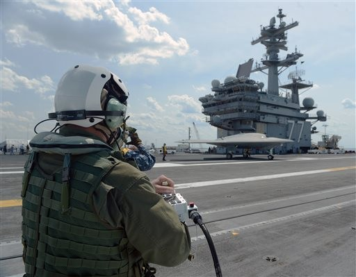 U.S. Launches Drone from Aircraft Carrier for First Time