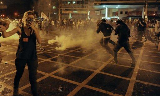 Rio Police, Protesters Clash as Brazil Trounces Spain