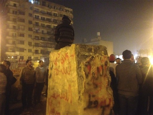 Memorial to Egyptian Protesters Damaged in Cairo