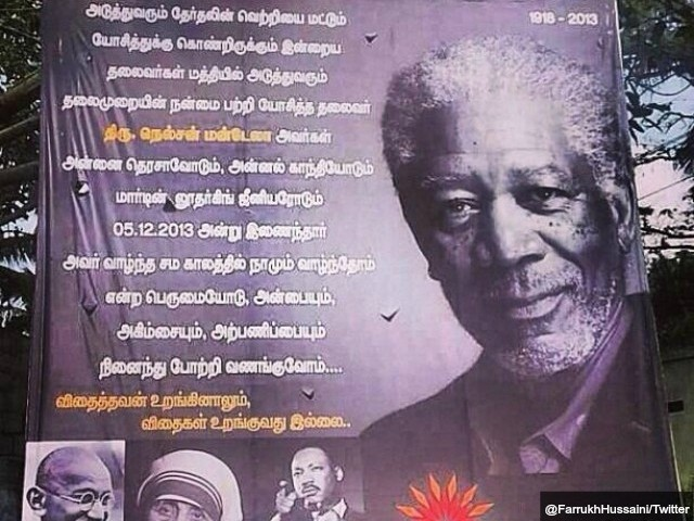 Mandela Tribute Billboard Uses Picture of Morgan Freeman, not Late Leader