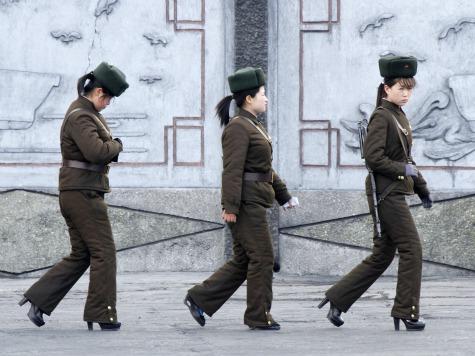 Female North Korean Soldiers Patrol in High Heels