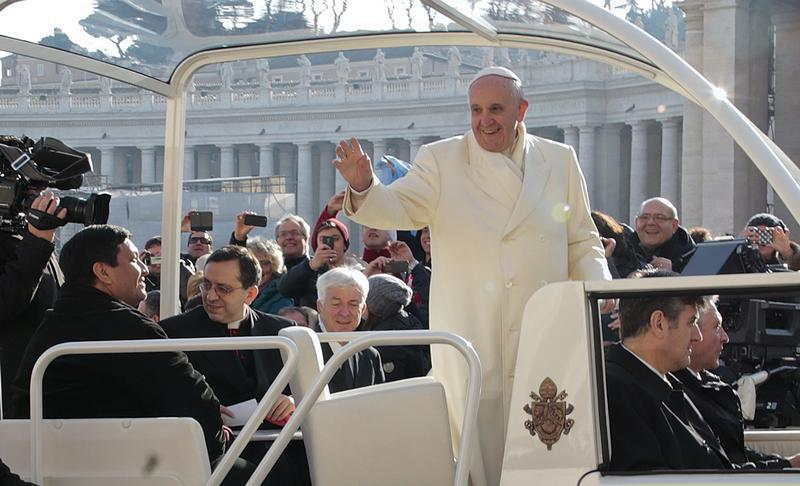 Priest Hitches Ride on Popemobile During Papal Audience