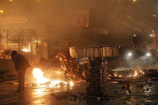 Riot Police Move in Against Kiev Protest Camp