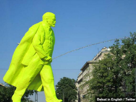 Polish Town Erects Neon Green Statue of Vladimir Lenin Peeing