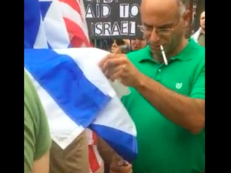 Pro-Palestinian Tries to Light Counter-Protestor's Israeli Flag on Fire at Massive DC March