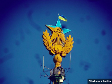 Russians Decorate Soviet Building with Ukraine Colors and Flag