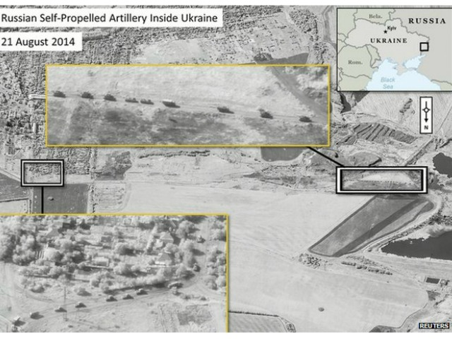 NATO: Satellite Photo Shows Russian Artillery in Ukraine