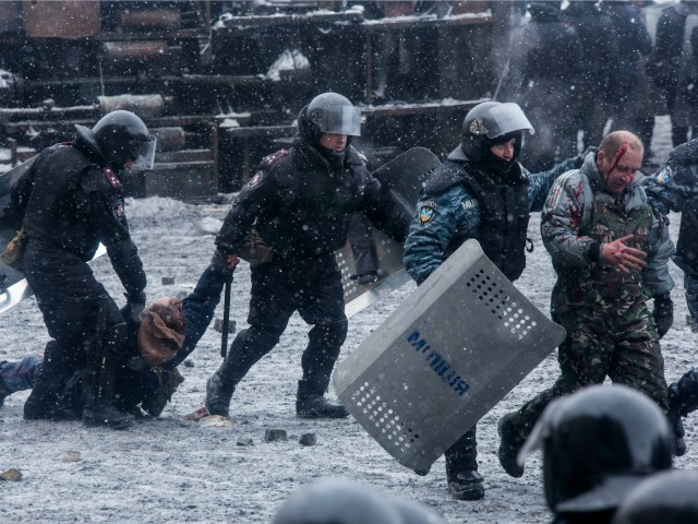 Ukraine Activists Blast Police with TV News