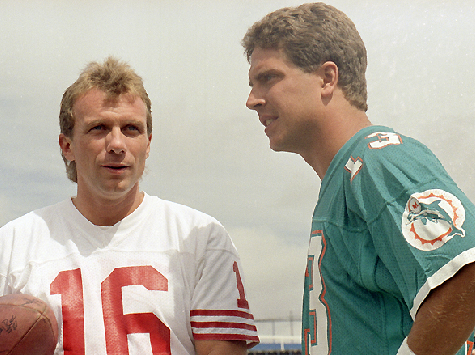 Super Bowl XIX Rematch: Football Giants Joe Montana, Dan Marino Compete Once More