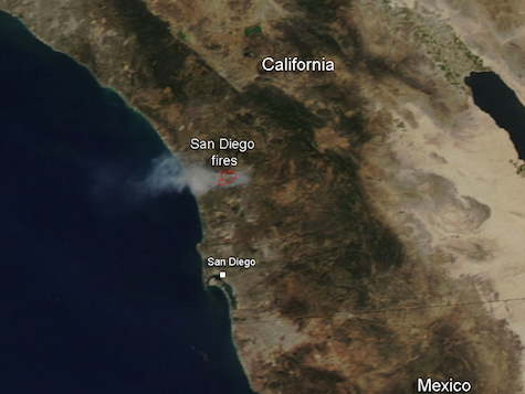 Smoke from California wildfires visible from outer space