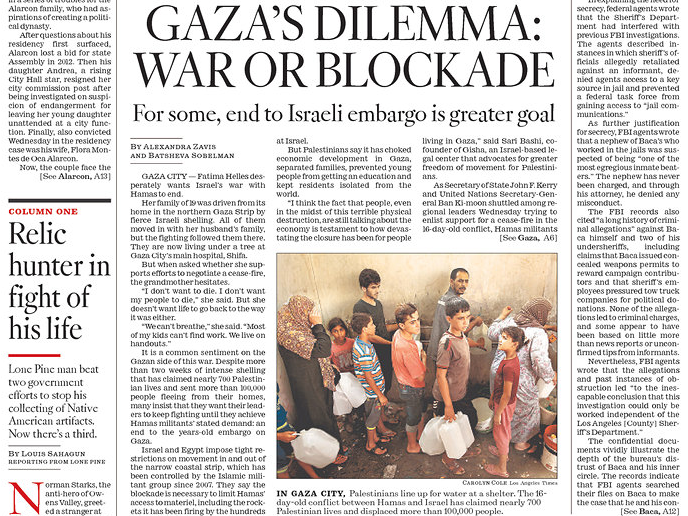 L.A. Times Prints Front-Page Defense of Hamas Terror Against Israel