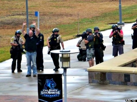 SWAT Team Surrounds White Male Carrying 'Large Umbrella' on Campus