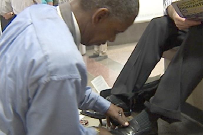 Budget Tightening in Sacramento: Shoe Shine Man Laid Off