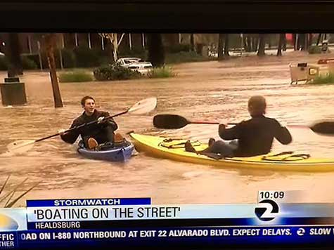 Kayaking Floodwaters, Healdsburg Residents Turn Stormageddon to Fun